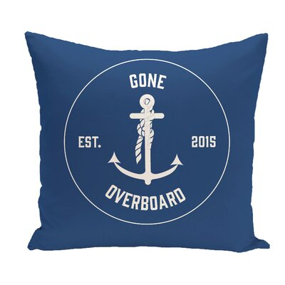 Hancock Gone Overboard Word Throw Pillow Size: 18 H x 18 W, Color: Blue