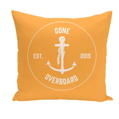 Hancock Gone Overboard Word Throw Pillow Size: 16 H x 16 W, Color: Yellow