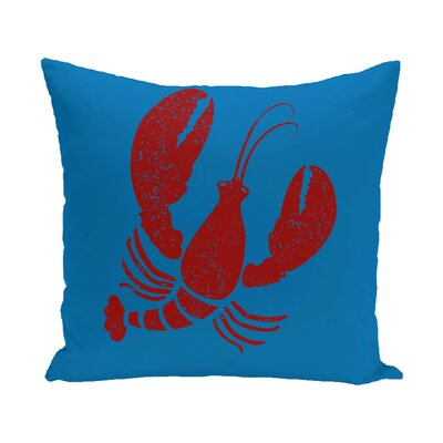 Hancock Lobster Coastal Outdoor Throw Pillow Size: 20 H x 20 W, Color: Blue