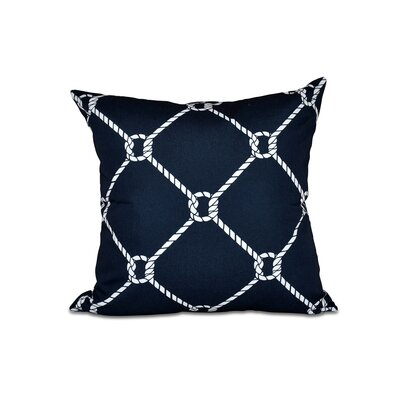 Bridgeport Ahoy Outdoor Throw Pillow Size: 18 H x 18 W, Color: Navy Blue