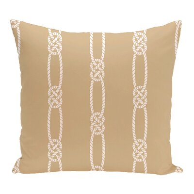 Hancock Tom Foolery Stripe Outdoor Throw Pillow Size: 16 H x 16 W, Color: Beige/Taupe