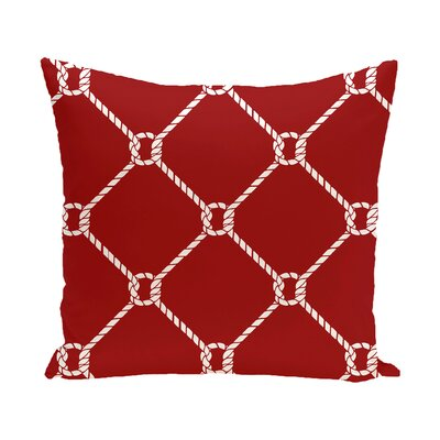 Bridgeport Ahoy Outdoor Throw Pillow Size: 20 H x 20 W, Color: Red