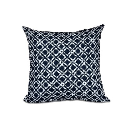 Hancock Rope Rigging Geometric Outdoor Throw Pillow Size: 18 H x 18 W, Color: Navy Blue