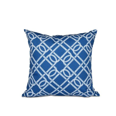 Bridgeport Know the Ropes Geometric Outdoor Throw Pillow Size: 18 H x 18 W, Color: Blue