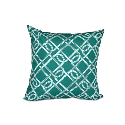 Bridgeport Know the Ropes Geometric Outdoor Throw Pillow Size: 18 H x 18 W, Color: Green