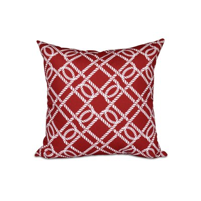 Bridgeport Know the Ropes Geometric Outdoor Throw Pillow Size: 18 H x 18 W, Color: Red