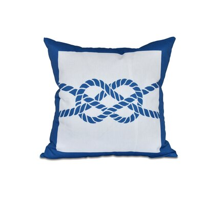 Hancock Nautical Knot Geometric Outdoor Throw Pillow Size: 18 H x 18 W, Color: Blue