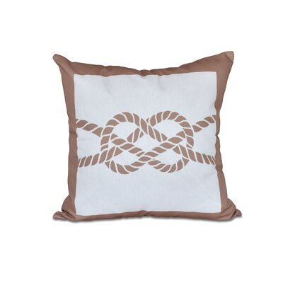 Hancock Nautical Knot Geometric Outdoor Throw Pillow Size: 18 H x 18 W, Color: Beige/Taupe