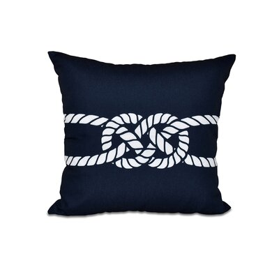 Hancock Carrick Bend Geometric Outdoor Throw Pillow Size: 18 H x 18 W, Color: Navy Blue