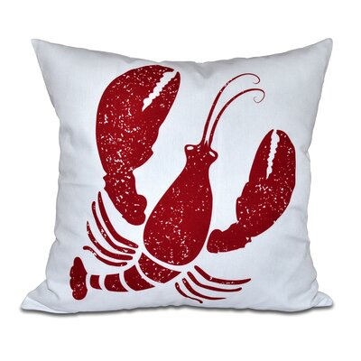Hancock Lobster Coastal Throw Pillow Size: 26 H x 26 W, Color: White