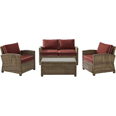 Middlesex 4 Piece Deep Seating Group with Cushion Fabric: Sangria