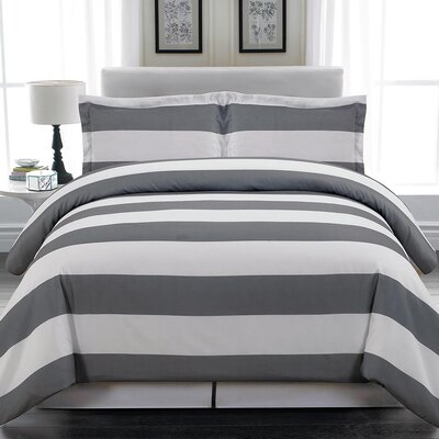 Whimbrel 3 Piece Duvet Cover Set Size: Full/Queen, Color: Gray