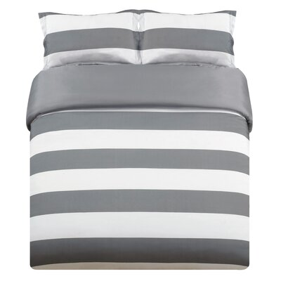Whimbrel 3 Piece Duvet Cover Set Color: Gray, Size: King