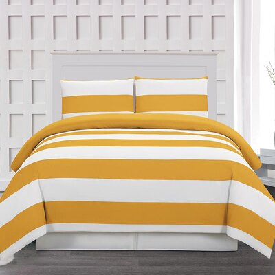 Whimbrel 3 Piece Duvet Cover Set Color: Mustard, Size: King