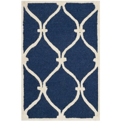 Leighton Wool Hand-Tufted Navy/Ivory Area Rug Rug Size: Rectangle 26 x 4