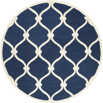 Leighton Wool Hand-Tufted Navy/Ivory Area Rug Rug Size: Round 8