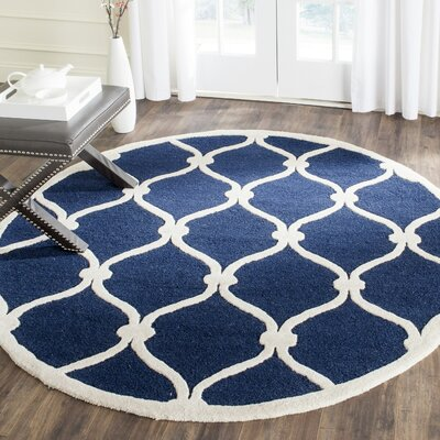 Leighton Wool Hand-Tufted Navy/Ivory Area Rug Rug Size: Round 6