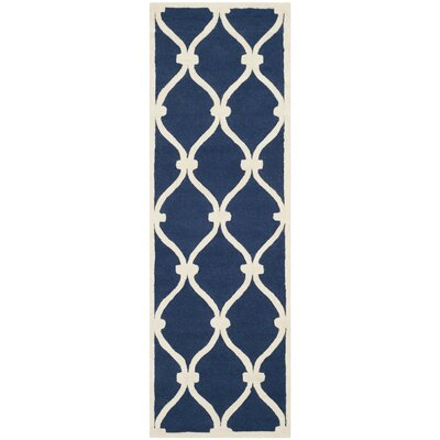 Leighton Wool Hand-Tufted Navy/Ivory Area Rug Rug Size: Runner 26 x 10