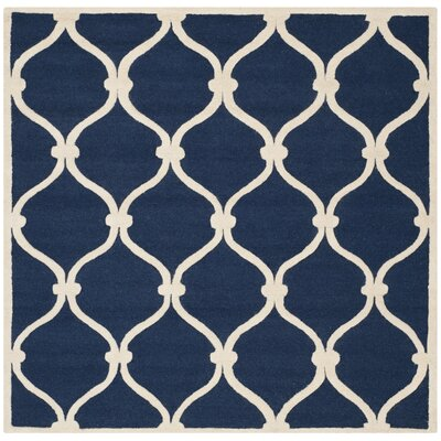 Leighton Wool Hand-Tufted Navy/Ivory Area Rug Rug Size: Square 8