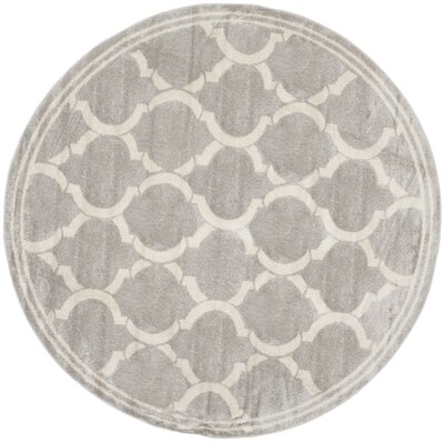 Rutherford Light Gray / Ivory Indoor/Outdoor Area Rug Rug Size: Round 7