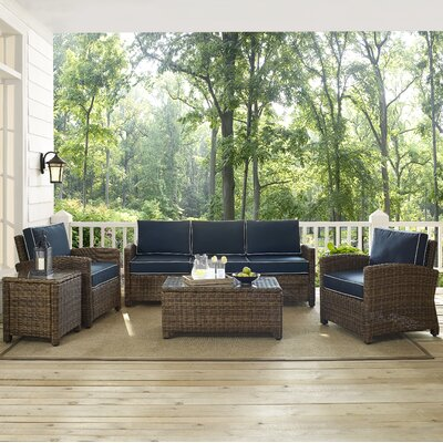 Middlesex 5 Piece Deep Seating Group with Cushion Fabric: Navy