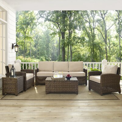 Dardel 5 Piece Deep Seating Group with Cushion Fabric: Sand