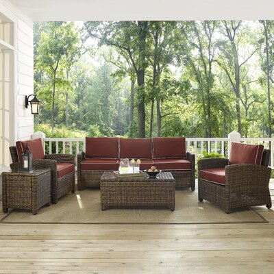 Dardel 5 Piece Deep Seating Group with Cushion Fabric: Sangria