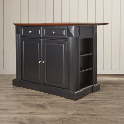 Byron Drop Leaf Breakfast Bar Top Kitchen Island Base Finish: Black