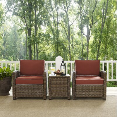 Dardel 3 Piece Deep Seating Group Fabric: Sangria