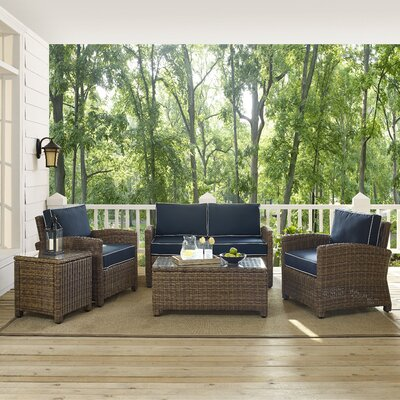 Middlesex 5 Piece Deep Seating Group Fabric: Navy
