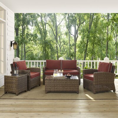 Dardel 5 Piece Deep Seating Group Fabric: Sangria