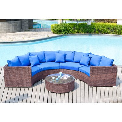 Colbourn 5 Piece Deep Seating Group with Cushion Fabric: Blue