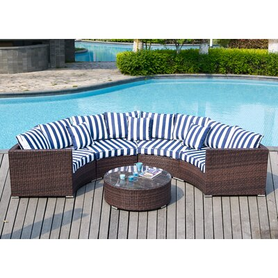 Colbourn 5 Piece Deep Seating Group with Cushion Fabric: Navy Nautical