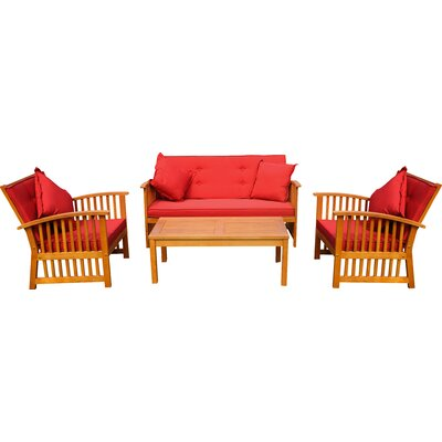 Sabbattus 8 Piece Set Benches Seating Group with Cushion Color: Ruby Red