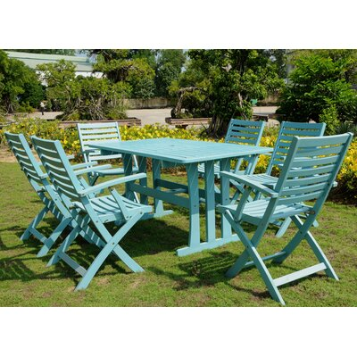 Sabbattus 7 Piece Dining Set Finish: Sky Blue