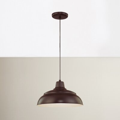 Stetson 1-Light Pendant Size: 8.25 H x 14 W, Color: Satin Green