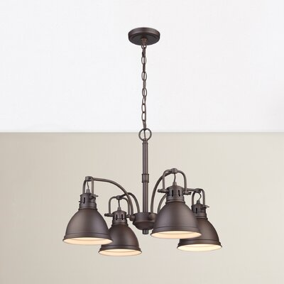 Bodalla 4-Light Shaded Chandelier Finish: Rubbed Bronze, Shade Color: Rubbed Bronze
