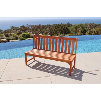 Bucksport Eco-friendly 5' Outdoor Hardwood Garden Armless Bench Size: 35 H x 48 W x 22 D