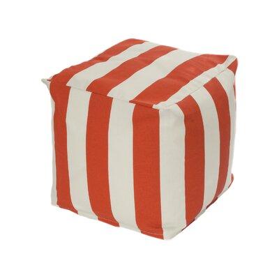 Merrill Pouf Upholstery: Orange/Off-White