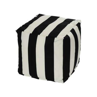 Merrill Bean Bag Cube Ottoman Upholstery: Black/Off-White