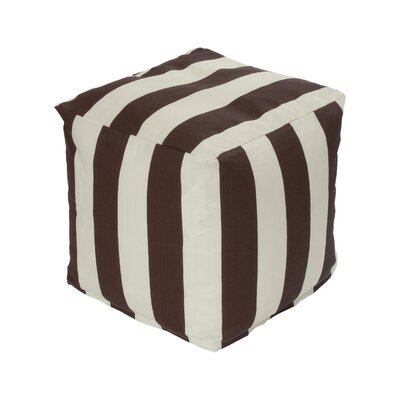 Merrill Bean Bag Cube Ottoman Upholstery: Brown/Off-White