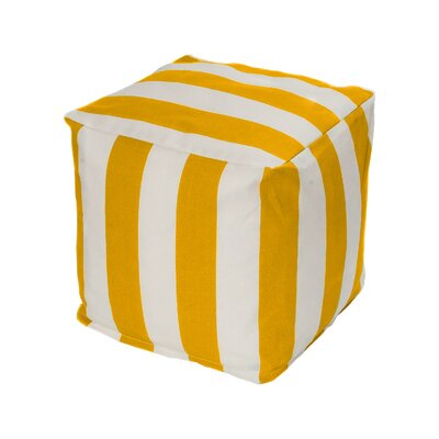 Merrill Bean Bag Cube Ottoman Upholstery: Yellow/Off-White