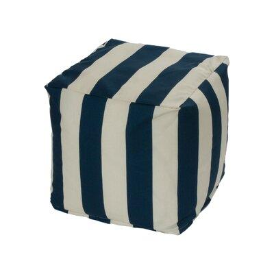 Merrill Bean Bag Cube Ottoman Upholstery: Navy/Off-White
