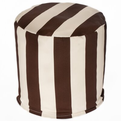Merrill Indoor/Outdoor Bean Bag Cylinder Ottoman Upholstery: Brown/Off-White