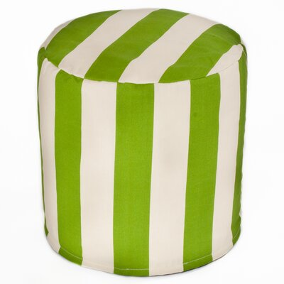 Merrill Indoor/Outdoor Cylinder Pouf Upholstery: Sage/Off-White