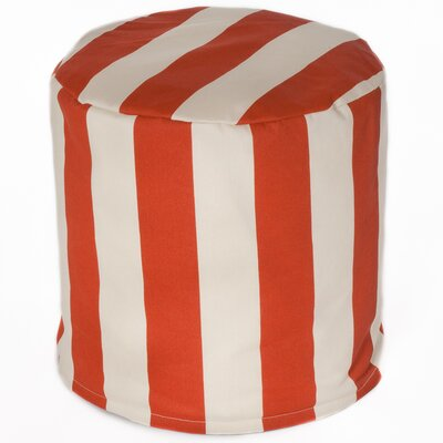 Merrill Indoor/Outdoor Cylinder Pouf Upholstery: Orange/Off-White