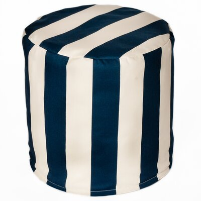 Merrill Indoor/Outdoor Bean Bag Cylinder Ottoman Upholstery: Navy/Off-White