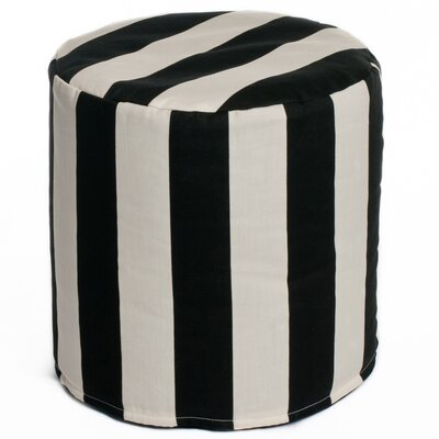 Merrill Indoor/Outdoor Bean Bag Cylinder Ottoman Upholstery: Black/Off-White
