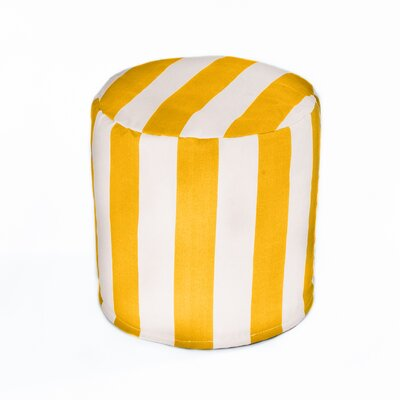 Merrill Indoor/Outdoor Bean Bag Cylinder Ottoman Upholstery: Yellow/Off-White