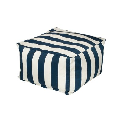 Merrill Pouf Upholstery: Navy/Off-White